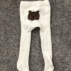 BabyGap Ivory Tights with 🐻 on Butt - Size 12-24M